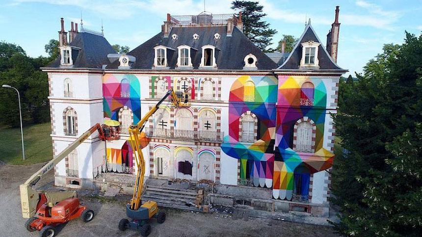Pintando un castillo - Artista de grafiti