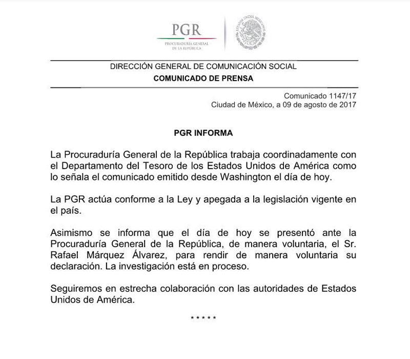 Comunicado de la PRG sobre Rafa Marquez