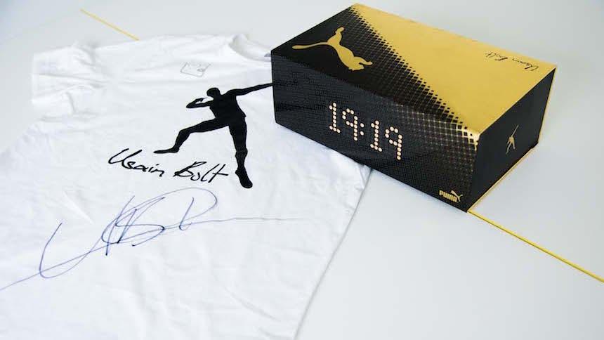 ¡Llévate unos tenis y una playera firmada por Usain Bolt!