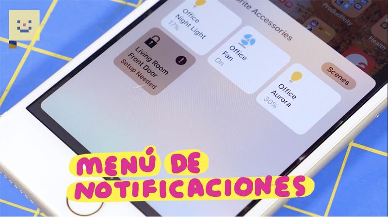 Menu Notificaciones iPhone 8