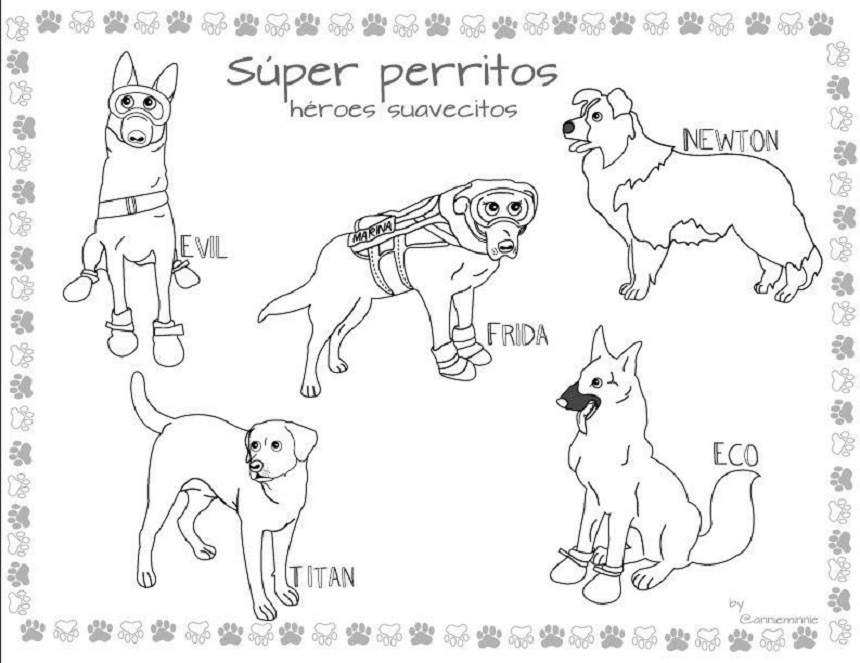 Ilustraciones coloreables de perritos