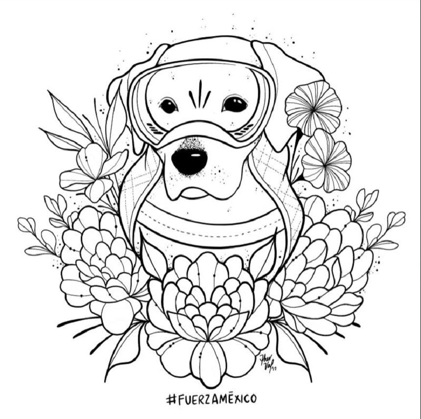 Una ilustración de Frida para colorear
