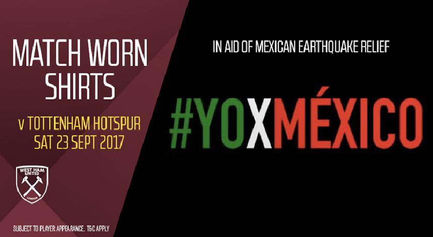 West Ham subasta jerseys para ayudar a México por el sismo