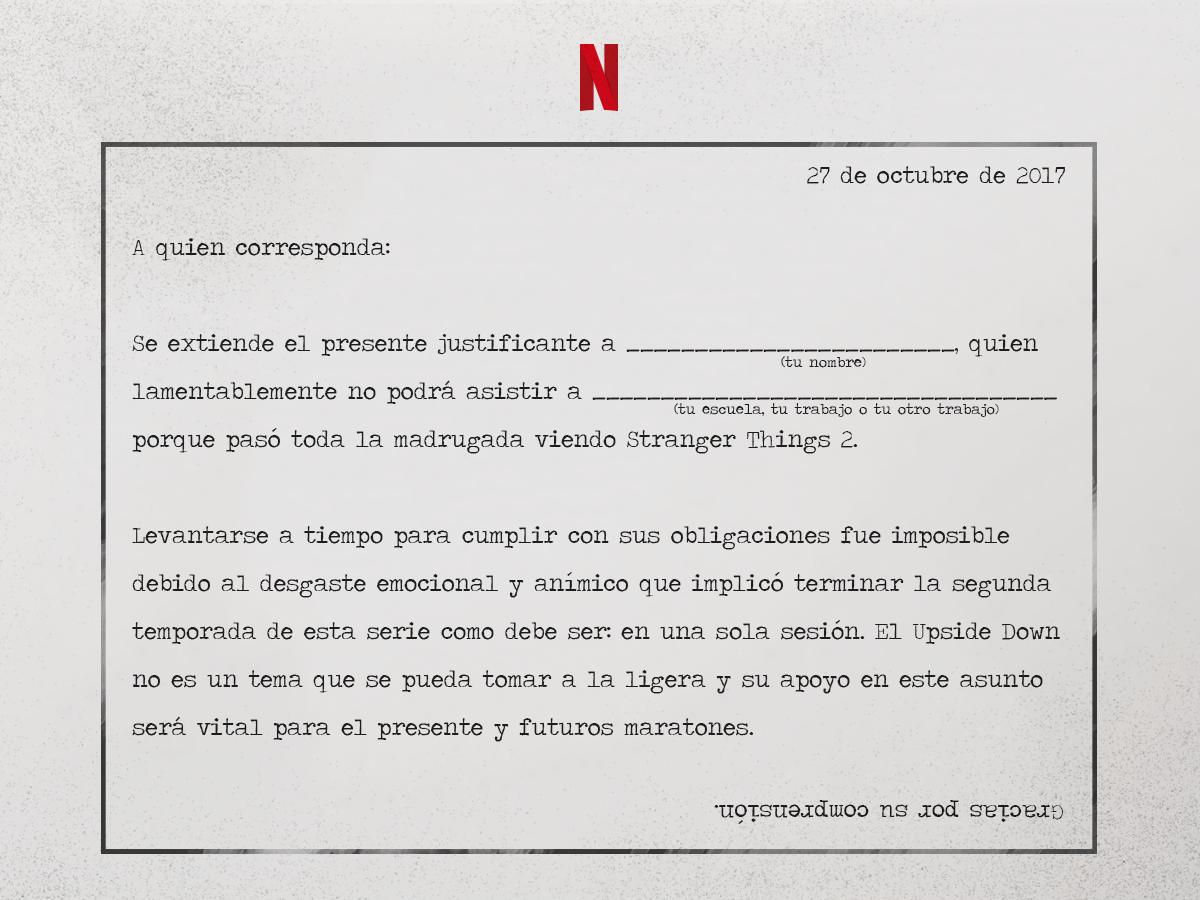 Netflix justifica tu falta al trabajo por ver stranger things