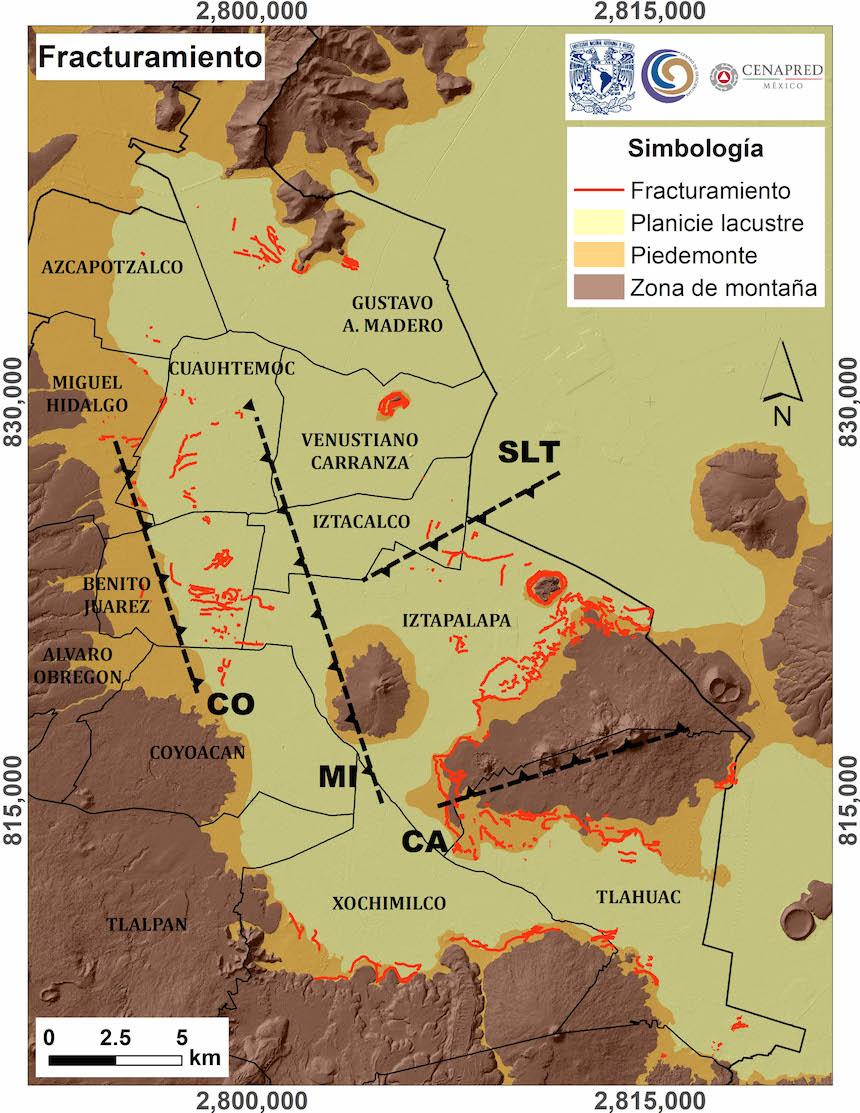 Mapa de zonas afectadas por el sismo