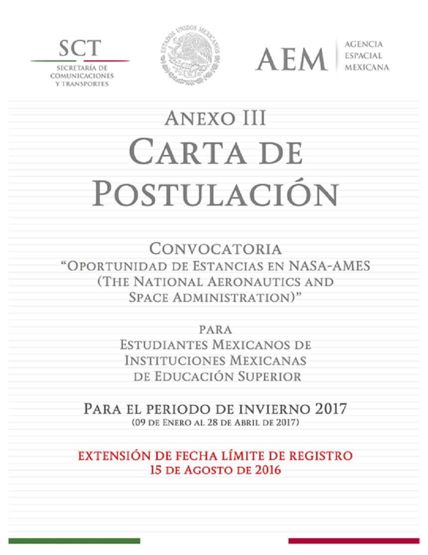 Postulación de la NASA para México