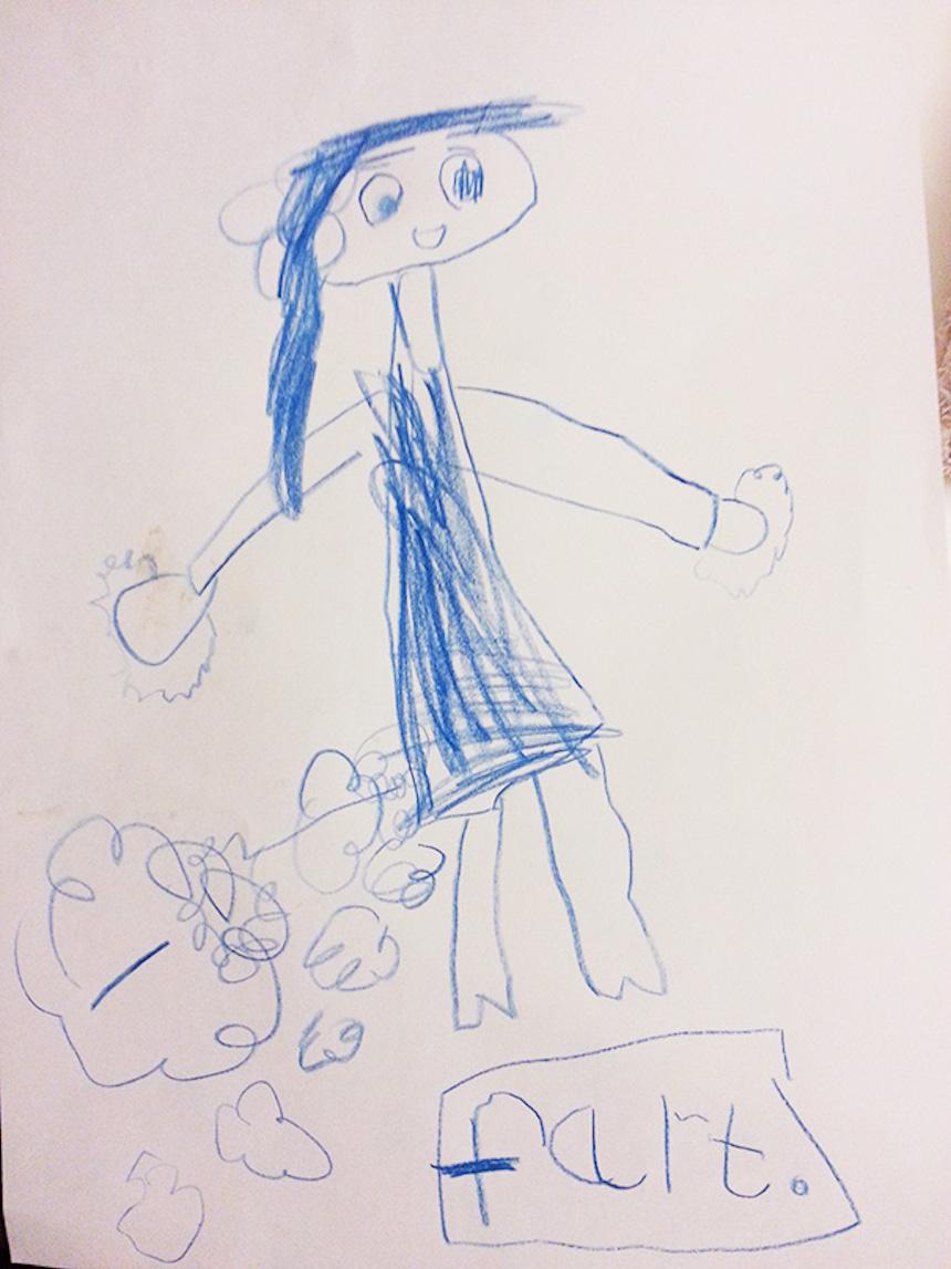 Dibujos de niños - Gases de la mamá