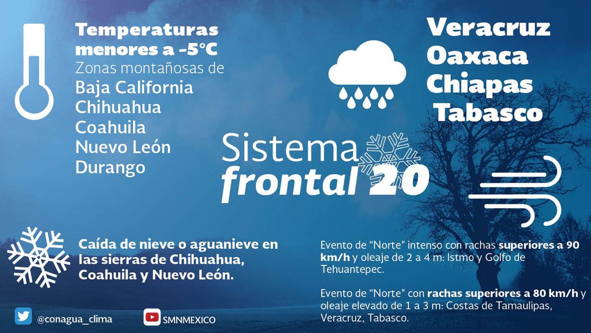 Frente Frio en Mexico bajas temperaturas