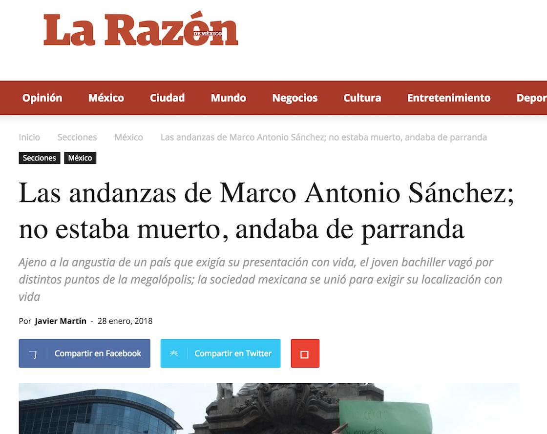 La Razón criminaliza al joven Marco Antonio Sánchez