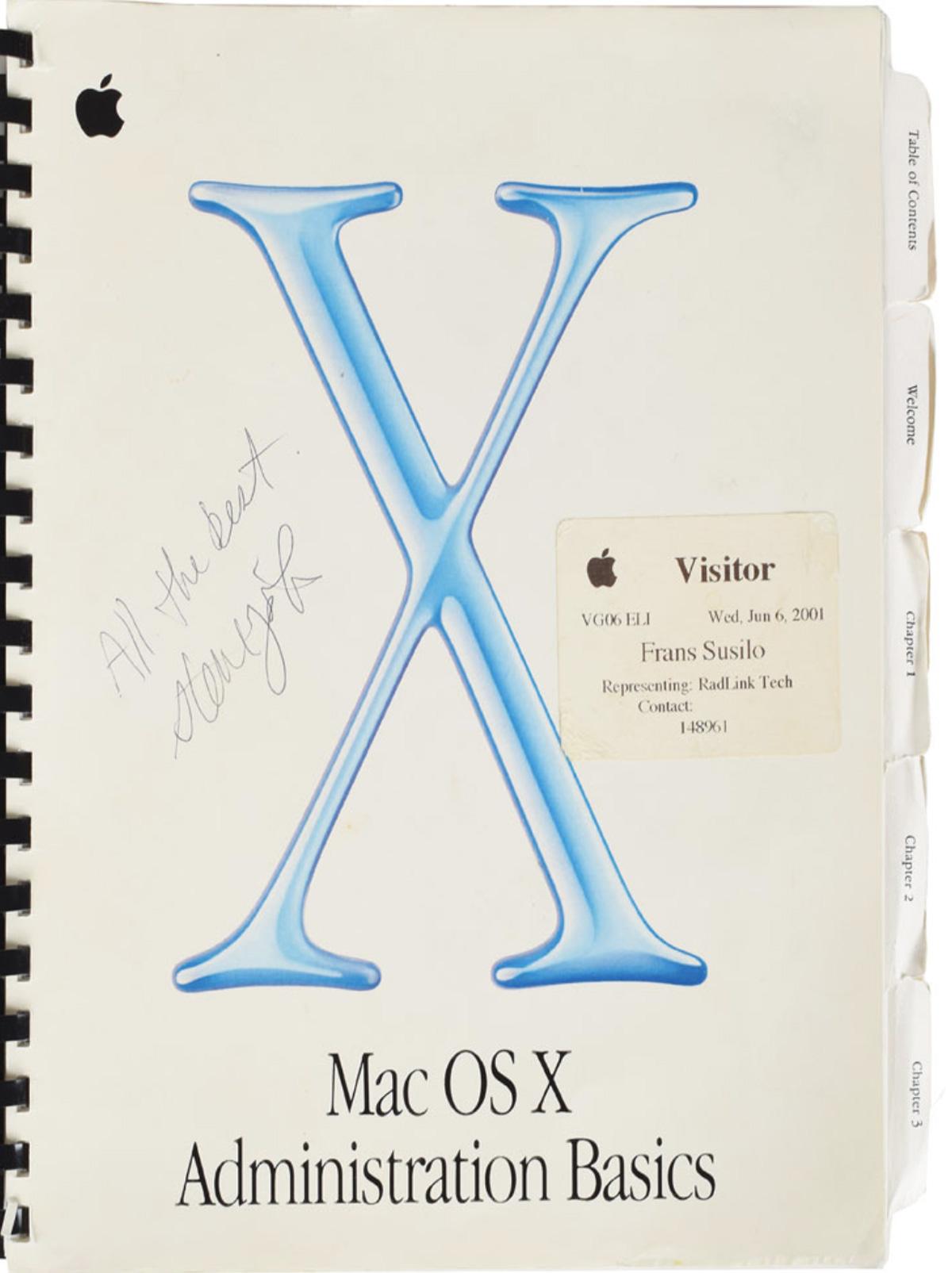 Manual de Apple firmado de Steve Jobs