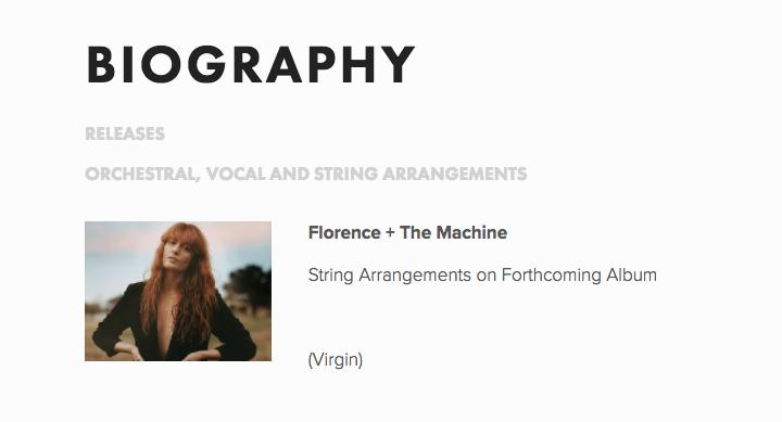 """En la """"biografía"""" de Sally aparece que colaboró en el próximo disco de Florence + The Machine."""