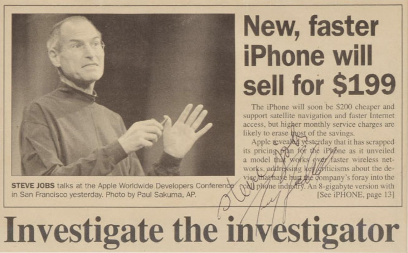 Periodico firmado por Steve Jobs