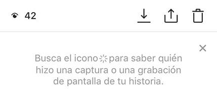 esta es la notificación que te aparecerá de ahora en adelante para que sepas cuando toman screenshot de tus Instagram stories