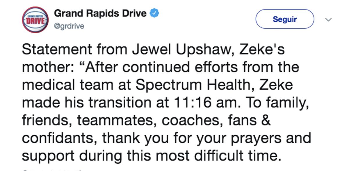 Anuncio muerte Zeke Upshaw