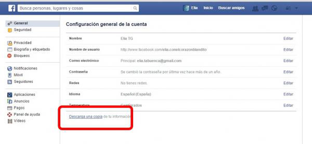 Descargar Informacion Datos Facebook