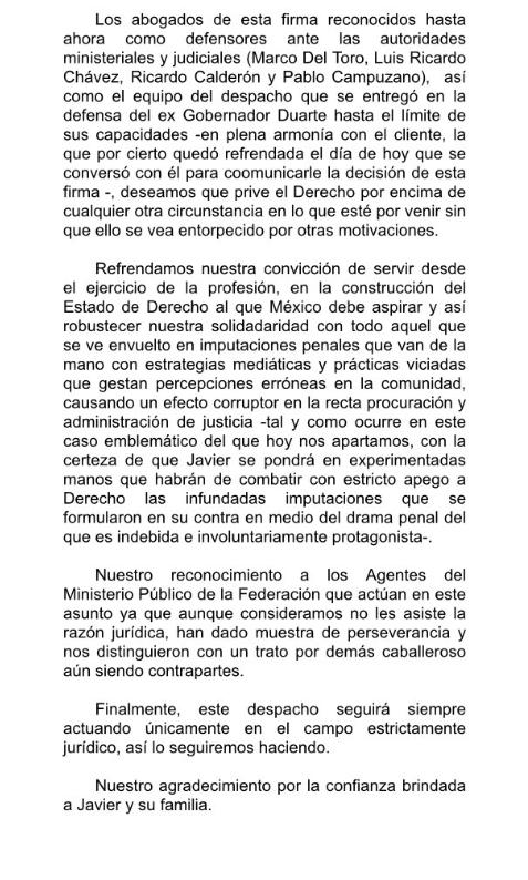 comunicado-despacho-abogados-Del Toro Carazo- Javier Duarte