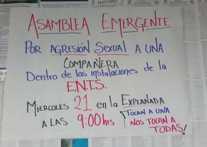 ENTS, asamblea por caso de abuso sexual UNAM