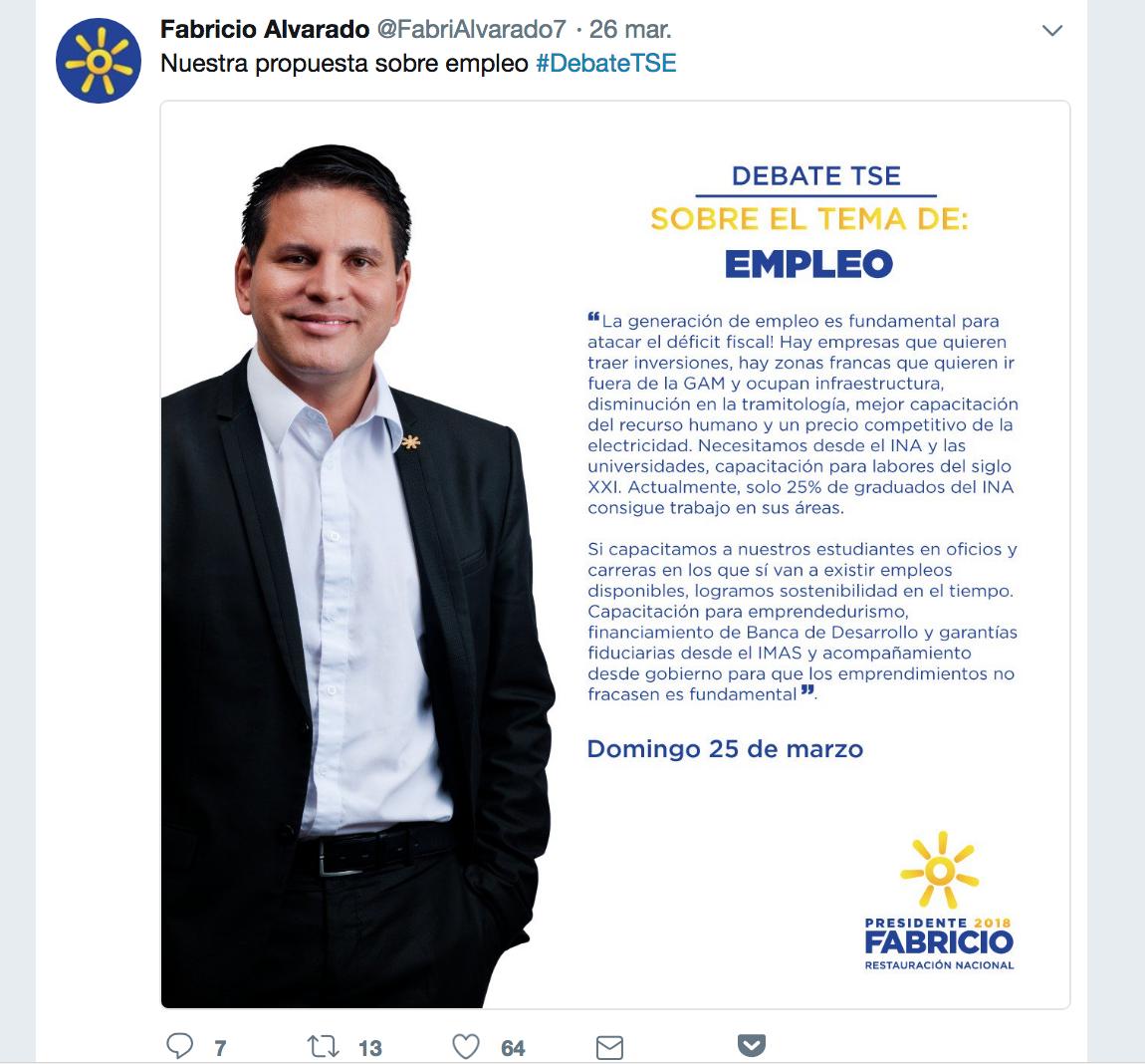 Fabricio Alvarado candidato del RN elecciones Costa Rica