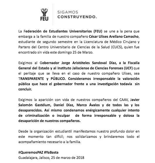 Comunicado de la Federación de Estudiantes Universitarios de Guadalajara