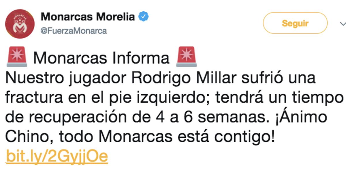 Monarcas Millar lesionado