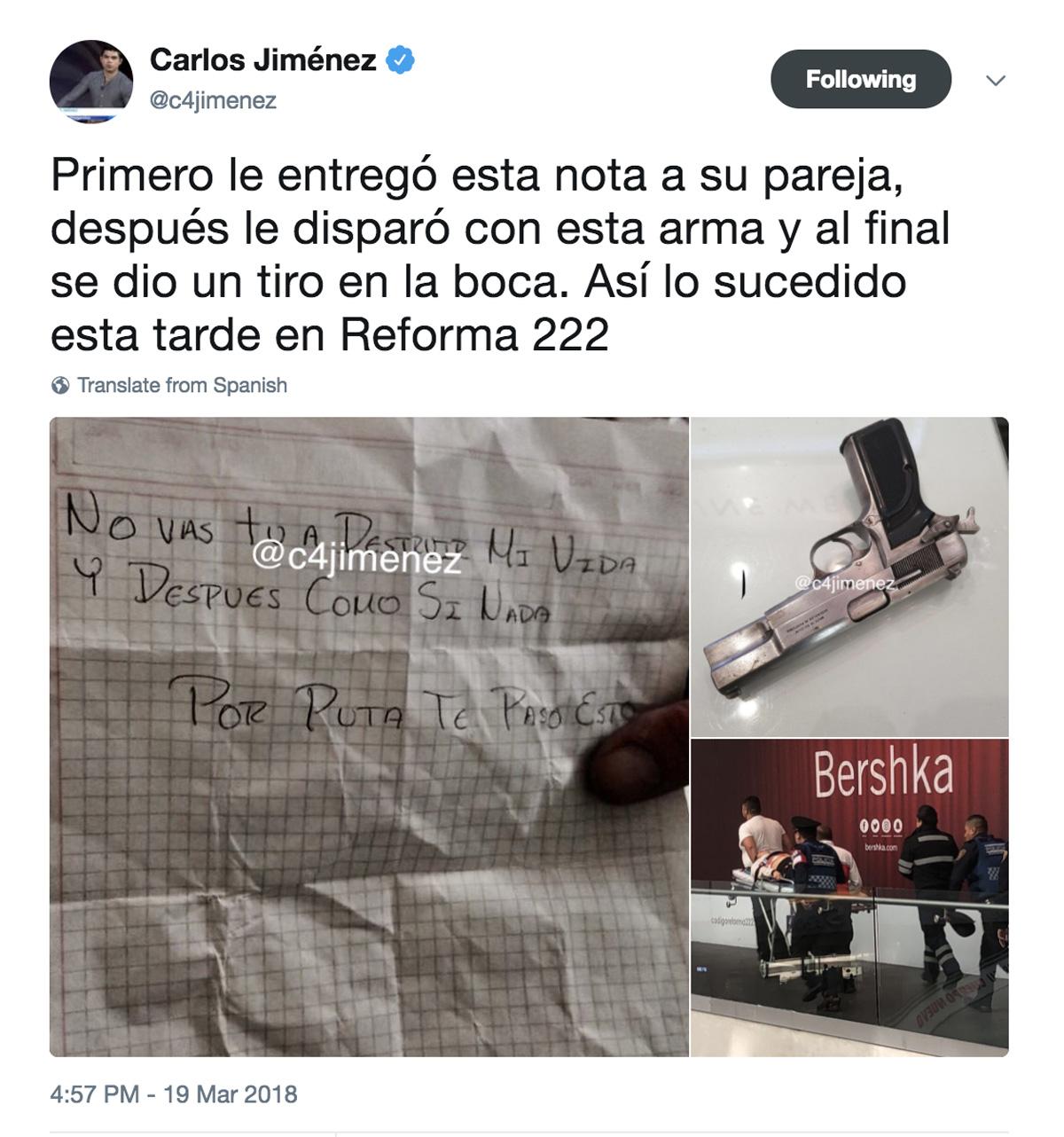 Nota Balacera Ataque en Reforma 222