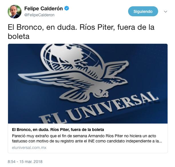 Felipe Calderón cita la columna de Carlos Loret de Mola