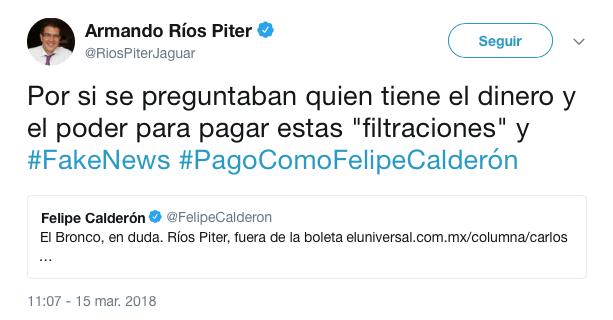 Tuit de Ríos Piter acerca de Felipe Calderón