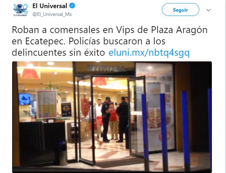 ¿Cúal inseguridad? Asaltan a comensales en Vips de Plaza Aragón