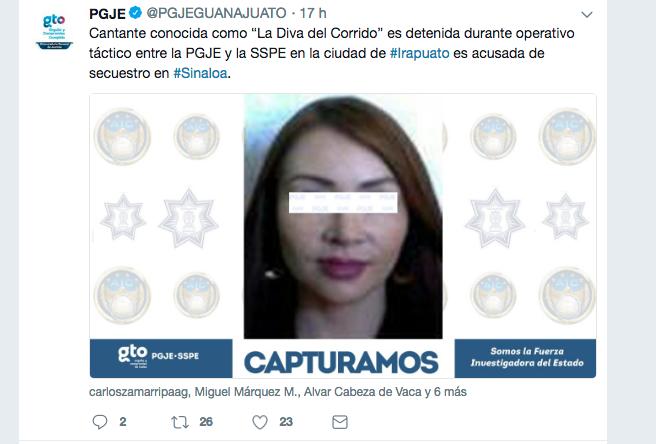 La Diva del Corrido fue detenida por secuestro agravado