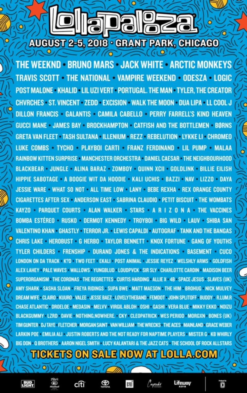 lollapalooza chicago line up 2018