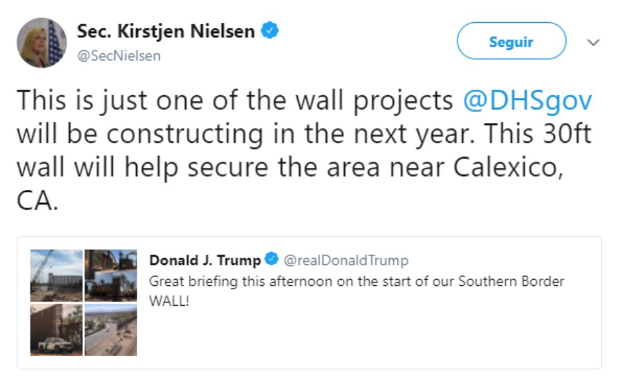 Mensaje de la la titular del Departamento de Seguridad Nacional, Kirstjen Nielsen