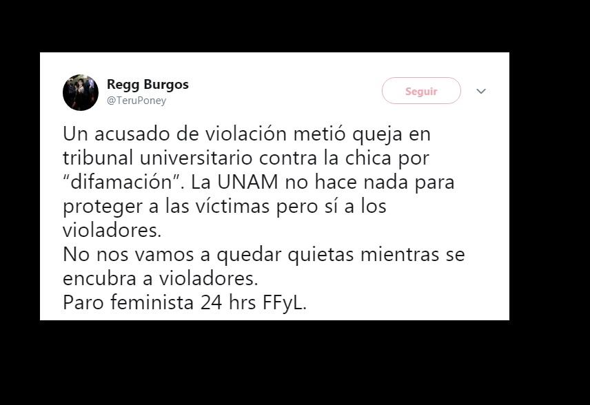 Tuit de activista de la FFyL UNAM, paro feminista