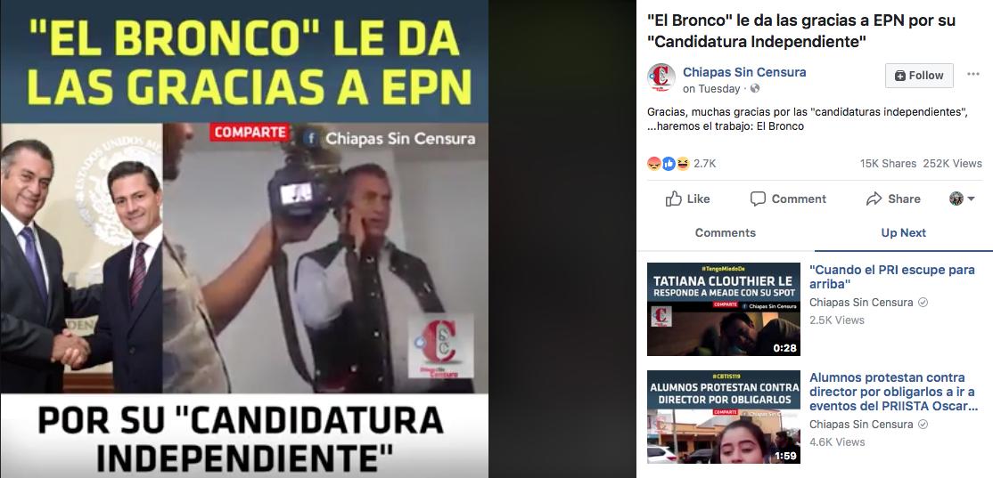 El Bronco video llamada EPN