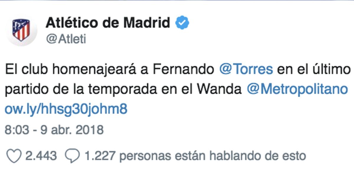 Atleti homenaje a Torres