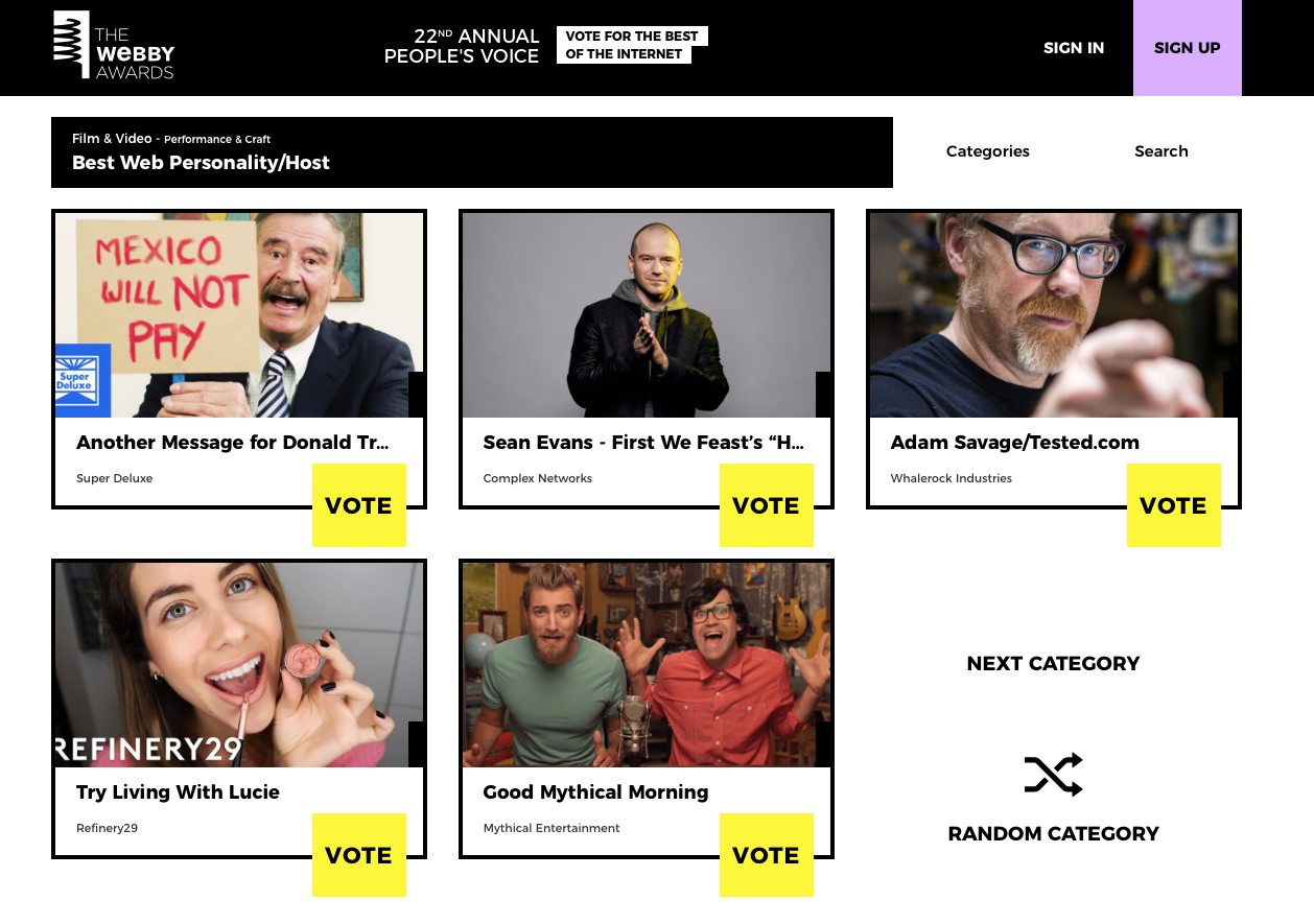 Vicente Fox en The Webby Awards