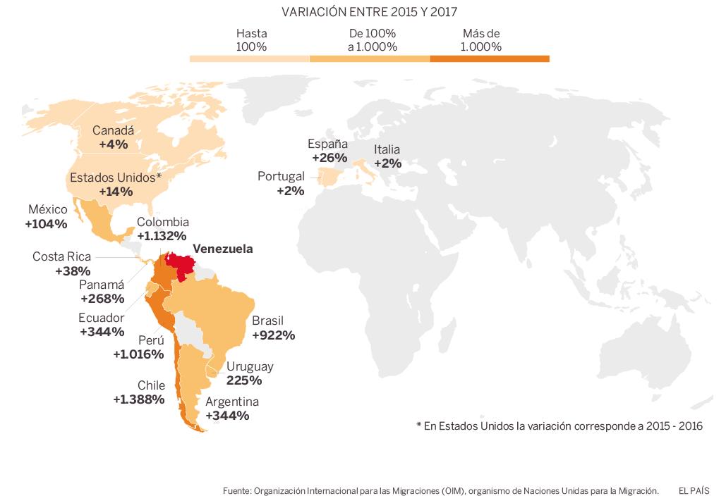 Mapa distribución venezolanos El País