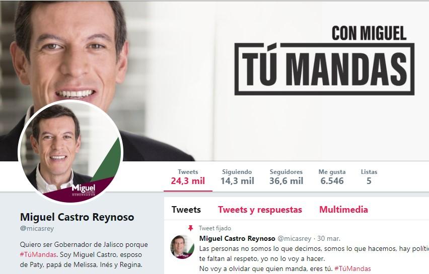Página Twitter de Miguel Castro
