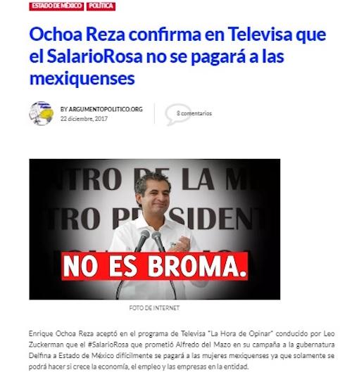 Falso que Enrique Ochoa Reza haya dicho que se cancelará el salario rosa