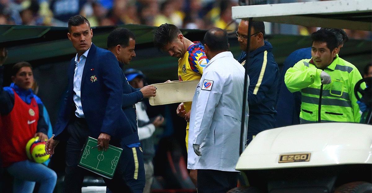 Oribe usó faja por la lesión
