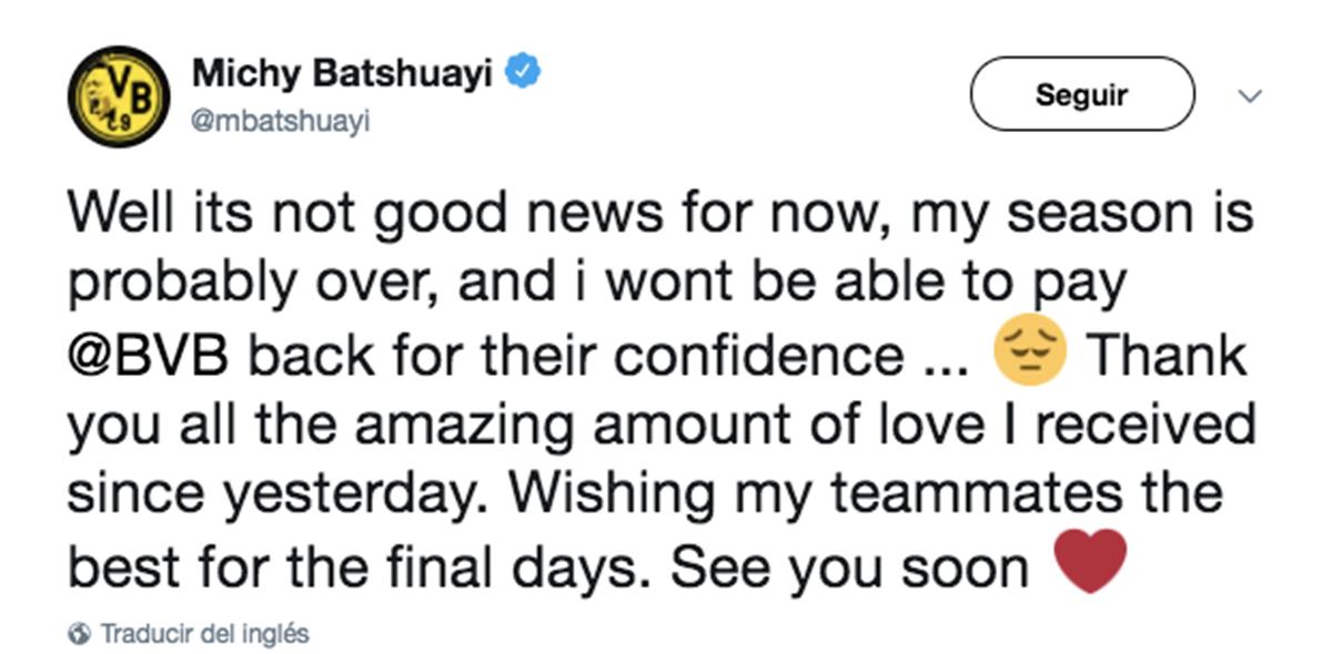 Batshuayi lamenta su lesión
