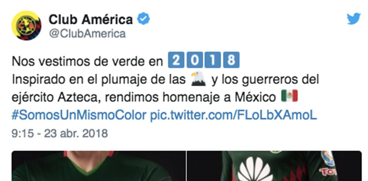 El jersey tricolor del América