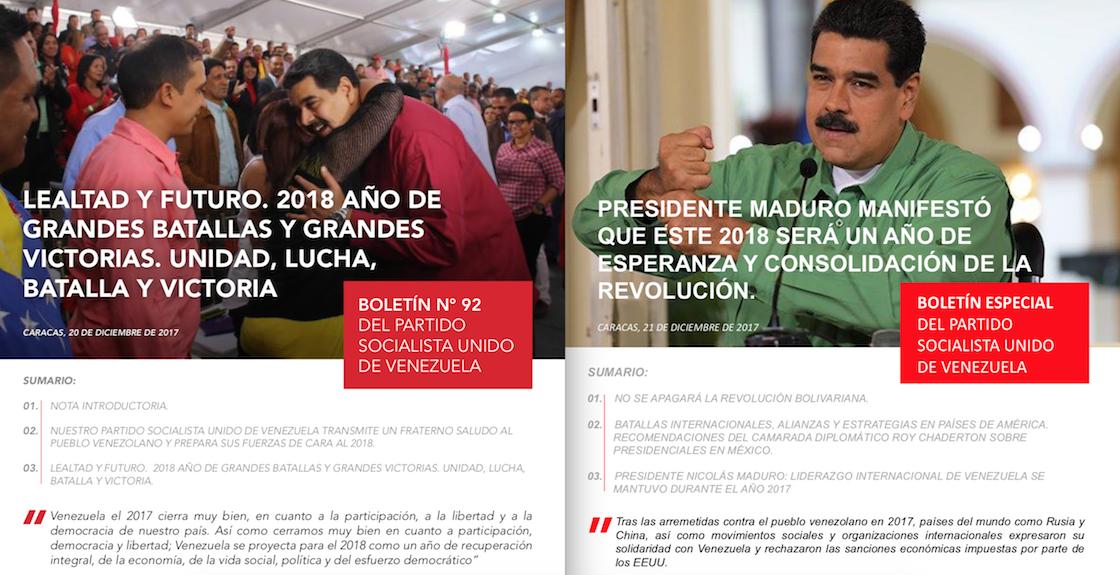 boletín PSUV Nicolás Maduro Venezuela