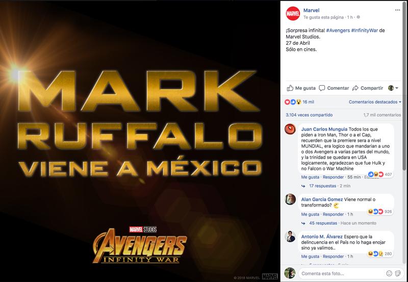 ¡Mark Ruffalo vendrá a México para la premiere de 'Avengers: Infinity War'!