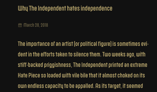 Morrissey lanza nuevo sitio web y su primer artículo es odio puro contra The Independent
