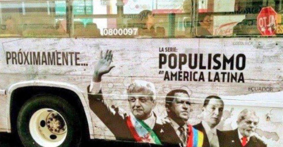 Dice AMLO que si se revela el nombre de quien pagó la serie sobre populismo en la que sale, él la transmite en su 'feis'