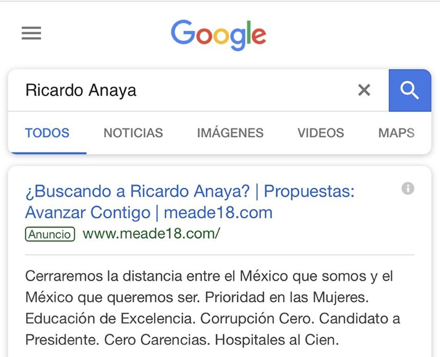 screen búsqueda Anaya en Google