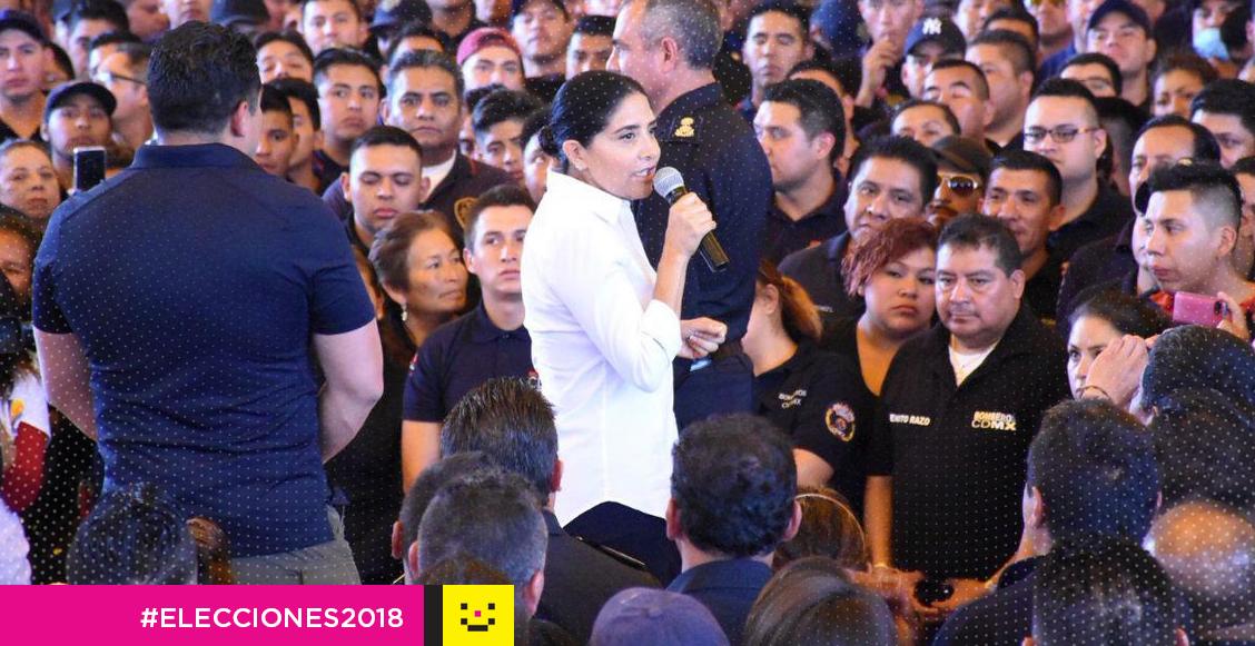 Alejandra Barrales mitin bomberos