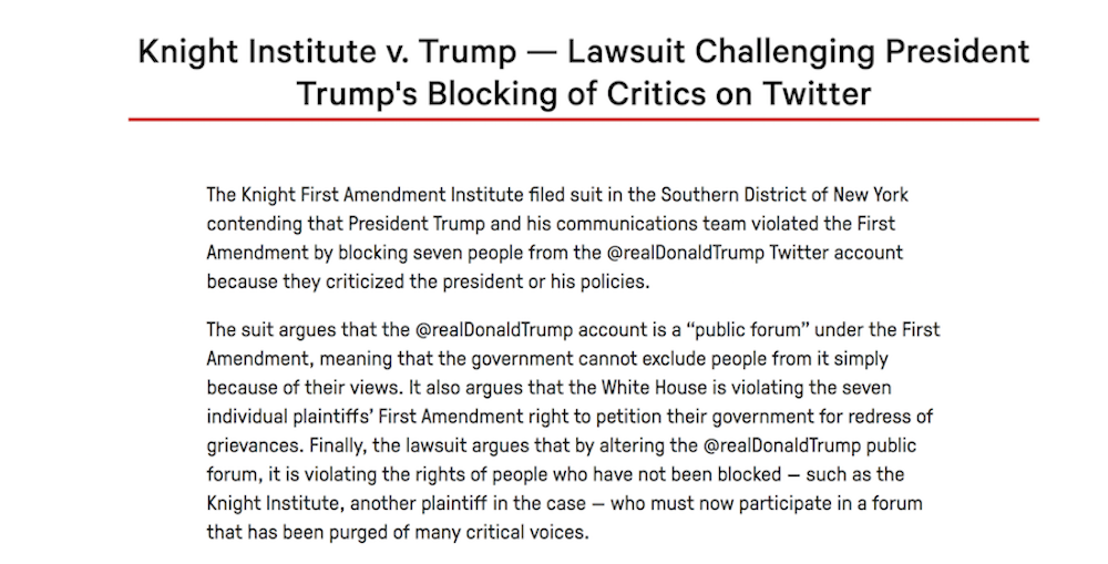 Comunicado del Instituto Knight First Amendment contra los bloqueos de Trump en Twitter