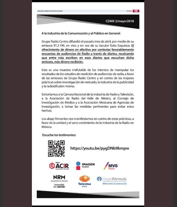 Comunicado radiodifusoras contra Radio Centro