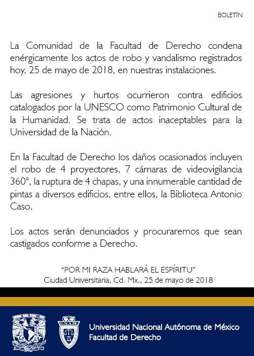 Comunicado robo Facultad de Derecho UNAM